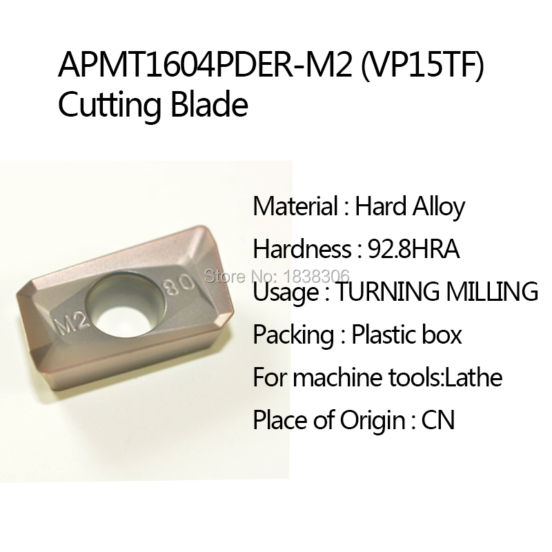1Lot APMT1604PDER-M2 VP15TF cutting tool turning tip for Cutting Blade MILLING CUTTER for Lathe Tool Accessories(Hong Kong)