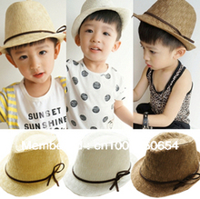 Solid Color Kids Straw Fedora Hat Boys Leather Trim Summer Straw Cowboy Hat Sun Cap Topee Jazz Cap