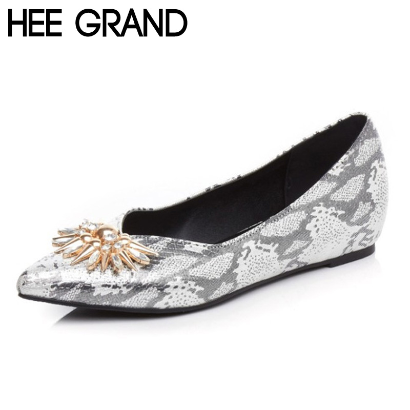 HEE GRAND Woman Fashion Flats Metal Rhinestone Poined Toe PU Patent Leather Autumn Spring Casual Lady Footwear Size 39 XWD4346<br><br>Aliexpress