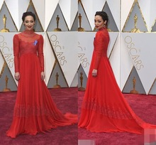 89th Annual Academy Awards Ruth Negga Red Lace Celebrity Dresses Royal High Neck Long Sleeve Red Carpet Dresses Evening Dress
