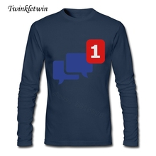 Custom Made Adult New Tees Tshirts Facebook Conversation Men 100% Cotton O Neck T-shirt Pop Long Sleeve New Trend Tshirt XS-XXL(China)
