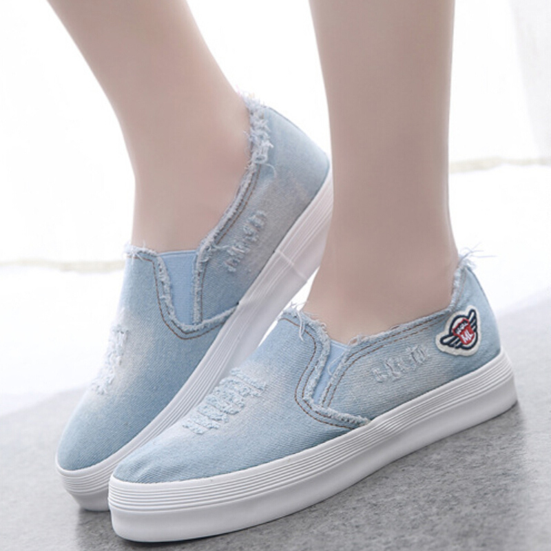New brand 2017 women shoes fashion cut outs zapatos mujer denim shoes woman confortable platform chaussure femme free shipping<br><br>Aliexpress