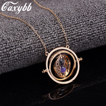 Caxybb Hot 1 pc Time Turner Necklace Hermione Granger Rotating Spins Gold Hourglass necklace free shipping