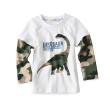 Cool Cartoon Dinosaur Boys Long Sleeve T Shirt For 18M-8Years Children Kids Boys Tops Tees Baby Child Cotton T Shirt  Retails