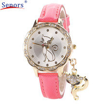 Fashion Cute Cat Pattern Women Girl Watch Luxury Diamond Analog Leather Quartz Wrist Watches Levert Dropship J72