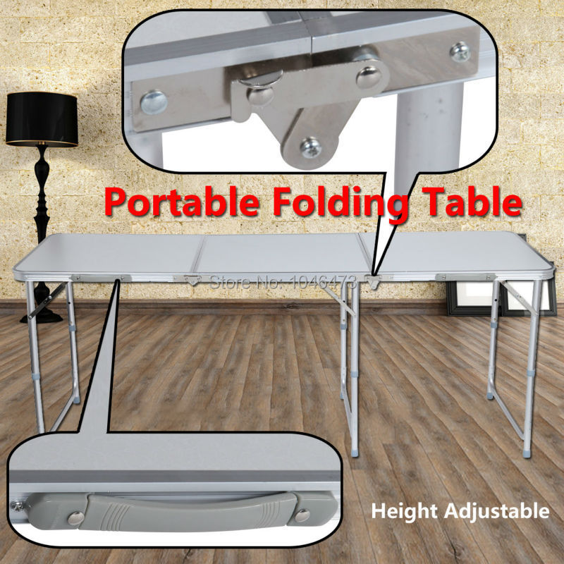 (Ship from DE) 180CM 6FT Aluminum Adjustable Multifunction Folding Trestle Table For Outdoor Camping Home Garden Picnic Desk<br>