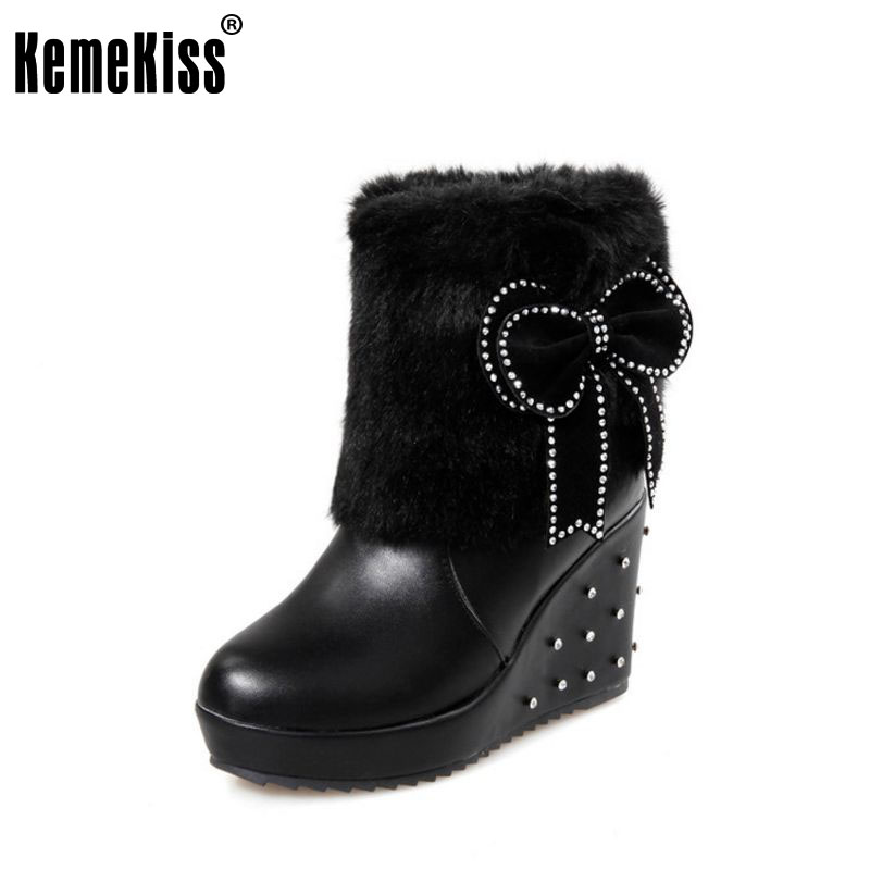 size 34-43 women bowtie wedge half short boots fashion thickened fur keep warm winter mid calf snow boot footwear shoes P21336<br>