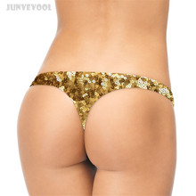 Buy Sexy Panties Thong Women T-string Briefs Panty Thongs Gold Coins Printed G-string Lingerie Underwear Funny Underpants Seamless