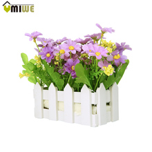 2016 Home decor Wedding Decorative Simulation Artificial Flowers Small Potted Plant Fake Chrysanthemum Set with Picket Fence