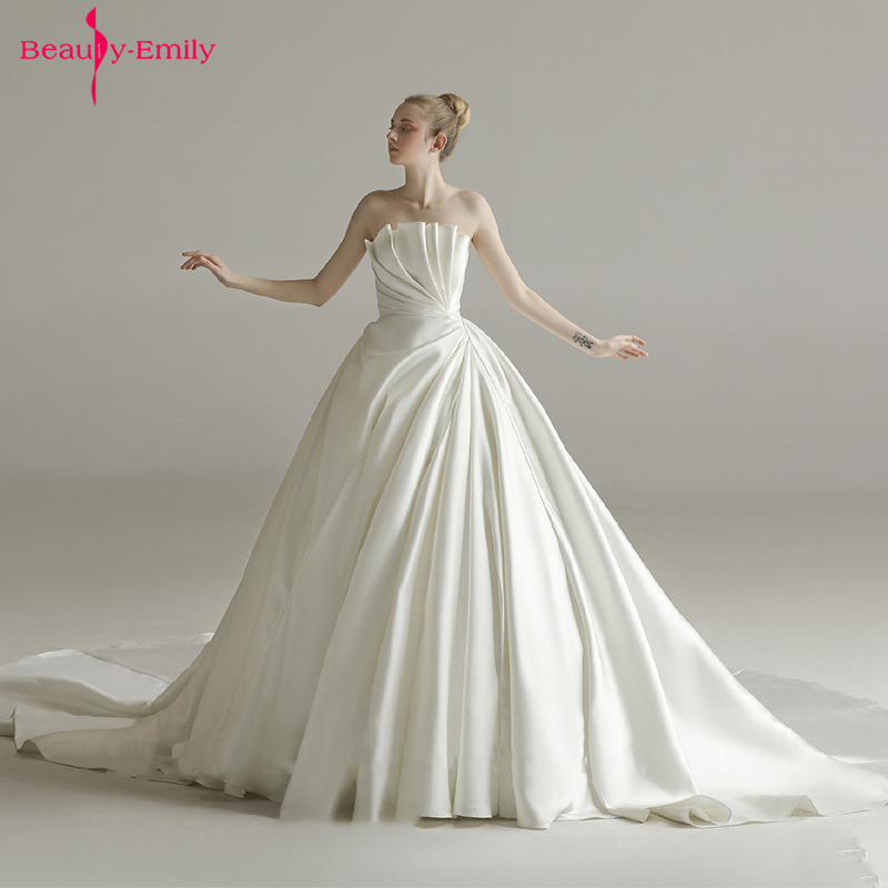 Beauty Emily Long Tube Top Sexy Wedding Dresses Sleeveless Princess Bridal Dresses Pleated Trailing Party Gowns Robe de mariée