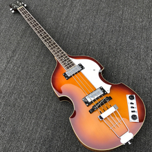 In Stock -Violin Electric Bass Guitar,Spruce Top Flame maple Side & Back,Semi Hollow Body Beatles Bass Guitarra,Real photo shows(China)