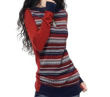 Winter Autumn Fashion Women Long Sleeve Cashmere Blend Knitted Striped Pullover Sweater Female O-Neck Vintage Knitwear