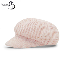 Lanmaocat Painter Outdoor Caps Women's Knitted Winter Hats Adjustable Knitted Caps Fur Weave Warm Hats for Lady Free Shipping(China)