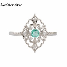 LASAMERO 0.18CT Round Shape Natural Emerald Diamond Accents Art Deco Vintage Style 18k White Gold Engagement Wedding Ring(China)