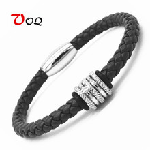 Hot Sale Fashion Vintage Leather Bracelet Bangle Stainless Steel Bead Charm Bracelets for Women Magnetic Clasp Men Jewelry