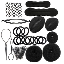 5 Sets DIY Hair Styling Tools For Girls Rubber Bands Sponge Disk Hair Hairpins Clips Bun Maker Hairdressing Braiding Accessories
