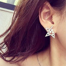 EK672 Pendientes Bijoux Boucles Imitation Pearl Gap Pentagram Hollowed Star Crystal Stud Earrings For Women Jewelry Wedding