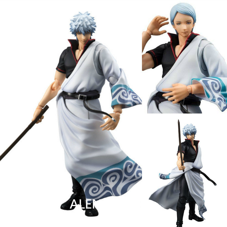 ALEN  Anime MegaHouse Variable Action Heroes GINTAMA Silver Soul Sakata Gintoki PVC Action Figure Collectible Model Toys Doll 18<br>