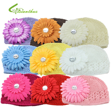 Baby Daisy Flower Hats Girls Knitting Wool Caps 2017 New Beanies Spring Autumn Headwear Photography Props Accessories Free Ship