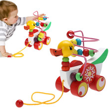 Duckling Trailer Toy Baby Wooden Toys Children Educational Toys 9 Months to 3 Year Olds Duckling Trailer Round Gifts
