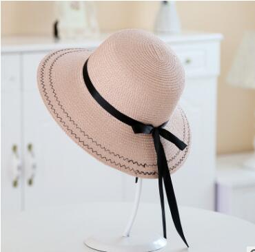 Free shipping Frans tui Ms. summer shade folding hat Korean ribbon fashion all-match sunscreen monochrome basin cap<br>