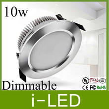 SIlver shell Dimmable 10W Led Downlight Fixture LED Lights Lighting Lamp Cool / Warm White 650lm AC85-265V + Led Driver UL CE