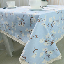 1pcs White Flower Blue Cotton linen tablecloth Lace Edged Party Table cloth Cover Home decor decoration Tablecloths 44072(China)