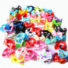 10 Pcs (5 Pairs) Solid Dot Pringting Mini Small Bow Girls' Elastic Hair Ropes Kids Hair Ties Ponytail Holder Accessories