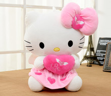 30cm/40cm Plush Pink color Cat bowknot Dress Sit Hello Kitty Stuffed Doll Toy with Heart For christmas party birthday gift(China)