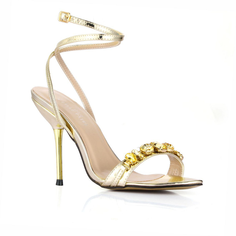 New Brand Rhinestone Women Sandals Sexy Ankle Strap Silver High Heels Summer Style Ladies Shoes Sandal Pumps Plus Size 35-43<br><br>Aliexpress