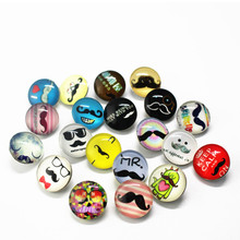 Wholesale 20pcs/lot Round Glass Moustache Uncle Snap Buttons Charms Fit 18mm/20mm DIY Snap Bracelet Buttons Jewelry(China)