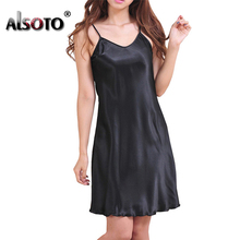 Ladies Sexy Silk Satin Night Dress Sleeveless Nighties V-neck Nightwear For Women Nightgown Plus Size Nightdress Sleepwear(China)