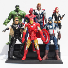 7pcs/lot 18-20cm The Avengers Hulk Iron Man Spider Man Captain America Black Widow Green Arrow PVC Figure Toys Model Dolls