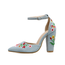 Fashion Brand Name Denim Embroidery High Heels Shoes Woman Flower Stitchwork Ankle Strap Women Pumps Black Blue Beige