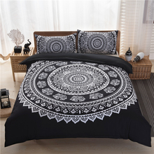 Quality 3Pcs Bohemia Ethnic Black White Medallion 4Pcs Double/Queen Size Bed Quilt/Duvet/Doona Cover Set 2x Shams Pillowcases
