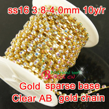 10Yards Handmake 4mm 16ss Crystal ab  Rhinestone Sparse Cup golden Chain trimming for dress ornament accessories