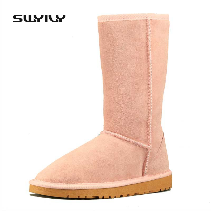 35-43 Big Size Genuine Leather Winter Snow Boots Women 2017 Suede Warm Shoes Woman Candy Color Blue Pink Black 11 Color