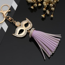2017 Rhinestone Mask Leather Tassels Keychain Bag Pendant Car Ornaments Creative Gifts Long Key Chain Buckle Key Ring 13 Colors