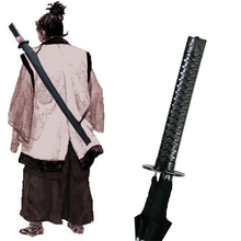 Black Samurai Sword Kantana Sun Rainny Umbrella Ninja-like Straight Long-handle Anime Mt.fuji 8/16 /24 Ribs Manual Open & Close