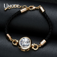 UMODE Round Cubic Zircon Gold Color Rope Chain Bracelets For Women Fashion Bracelet Jewelry Unique Gifts Pulseras Mujer UB0091