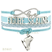 (10 PCS/Lot)Infinity Love Figure Skating Shoes Charms Bracelets For Women Men Jewelry Light Blue Gifts Suede Leather Bracelets