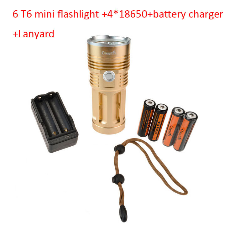 Super Bright Tactical Flashlight 6*T6 Cree LED Flashlight 9000 LM Waterproof Torch Lanterna Flash Light+18650 Battery+Charger<br>