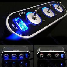 Automobile Car Cigarette Lighter 3 Way Triple Splitter Adapter DC12V USB Port With Blue Led Light Car Accessories L0192546