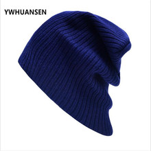 YWHUANSEN European American Casual Winter Man Caps Pinstripe Short Women Knitted Beanies Hats Pure Color Unisex Ski Skullies New(China)