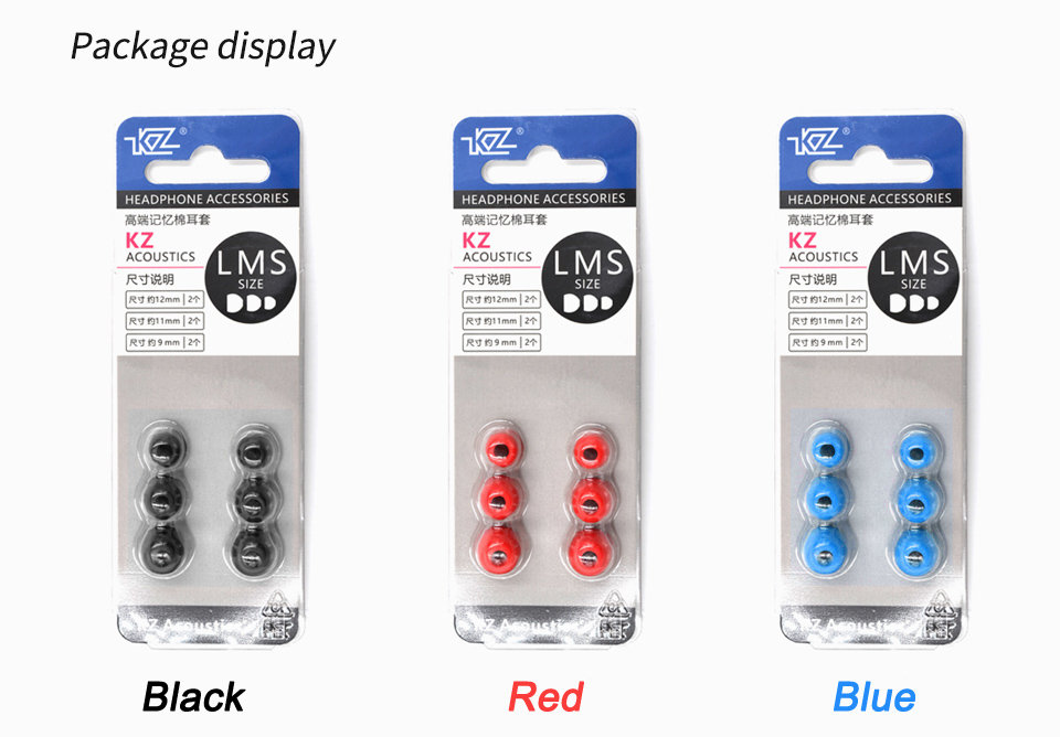KZ_New_Upgrade_Original_3Pair_(6pcs)_Noise_Isolating_Comfortble_Memory_Foam_Ear_Tips_Ear_Pads_Earbuds_For_In_Earphone_Headphones_Red_Blue (9)
