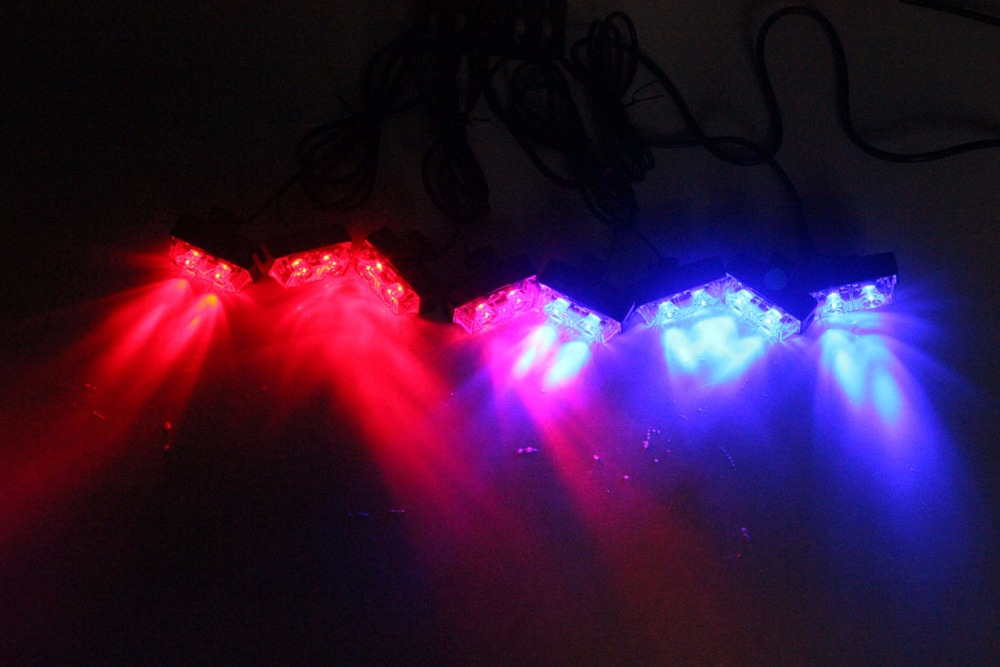 8 in 1 Car Flashing Warning Light  Red &amp;Blue Automotive Wireless LED Grille Strobe Light Police Fireman External Light<br><br>Aliexpress