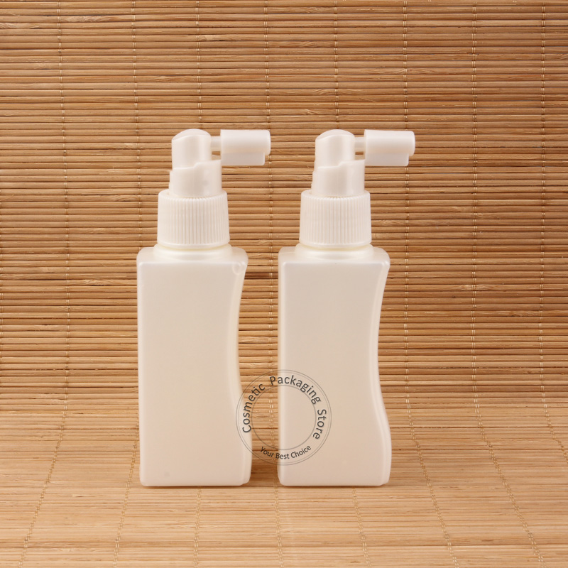5pcs/Lot New Arrival Plastic 100ml Empty Plastic Perfume Bottle 10/3OZ Women Makeup PE Container Spray Pot Square Jar(China (Mainland))