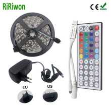 RiRiWon RGB LED strip led light waterproof 5050 SMD led tape diode ribbon flexible DC 12V 5m MINI controller DC 12v adapter set