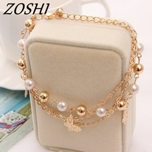ZOSHI Bohemian Gold Color Chain Multilayer Beads Stretch Charm Bracelet & Bangle For Women pulseras mujer bracelet hot sale