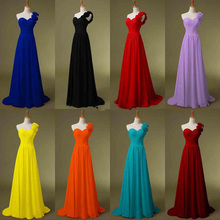 One Shoulder Chiffon Red Black Bridesmaid Dresses Long Royal Blue Lilac Bridal Prom Dresses 2017 Party Gowns Handmade Flowers